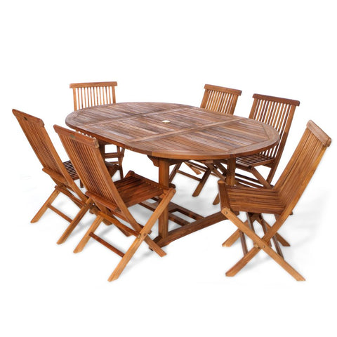 7-Piece Oval Table & Folding Chair Teak Set