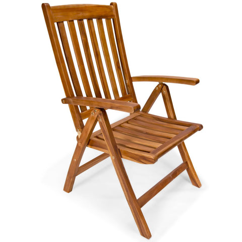 5 Position Folding Arm Chair in Teak Wood
