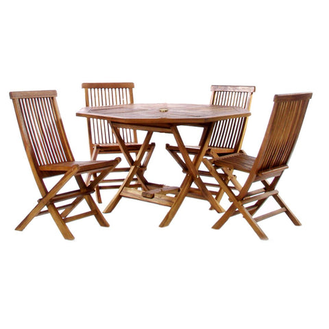 5-Piece Octagon Folding Table and Folding Chair Teak Set