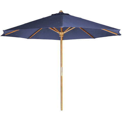 10' Teak Market Umbrella and Canopy, Blue