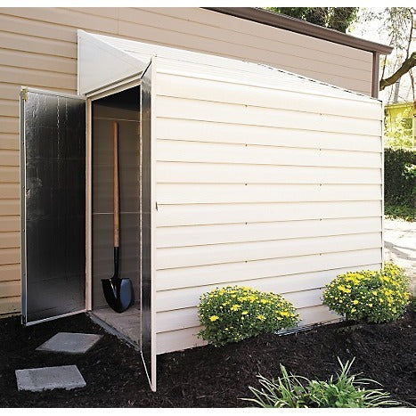 Side Entry Lean-To Wall Shed, 4x7, Steel, Swing Doors - Buy Online at YardEpic.com
