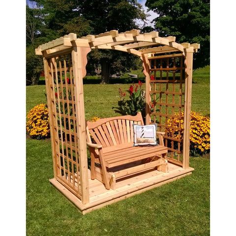 Cambridge Arbor w/ Deck & Glider in Cedar - Buy Online at YardEpic.com