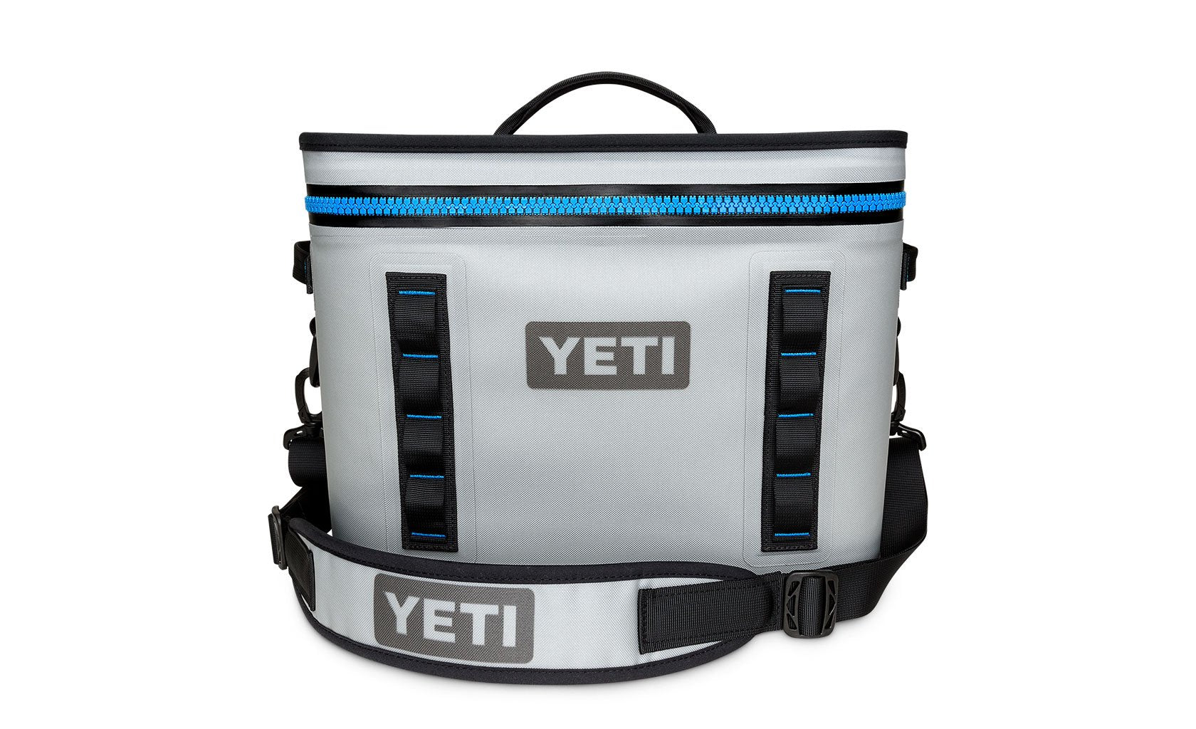 Yeti Hopper Flip 18 Fog Gray / Tahoe Blue (Top Handle) - Board Store YetiSoft Cooler