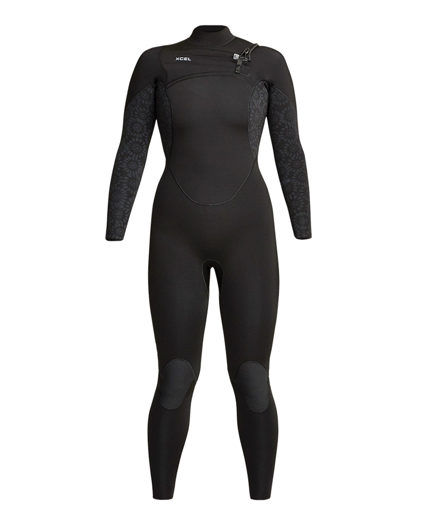 XCEL WOMENS COMP 3/2MM WETSUIT BLACK/FLOWER  - CHEST ZIP 2021 - Board Store XcelWetsuits