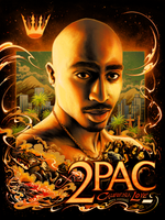2Pac California Love 25th Anniversary by Miles Tsang (Golden State Foil Edition)