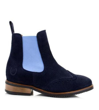 BareBack Footwear Charleston Chelsea style, Blue Suede Short Boot, High performance, quality equestrian, country style footwear. Shop online or buy in the knightsbrand, rookley, isle of wight UK store.