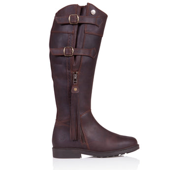 Bareback Footwear Men's and Woman's Luciana Brown Nubuck Leather Country Style Long Boot. High performance, quality equestrian and country style footwear, shop online or buy in the knightsbrand. rookley, Isle of wight UK store.