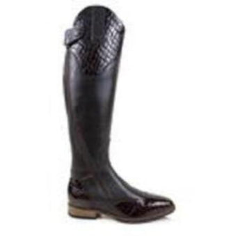 BareBack Footwear Woman's Milan Long Competition Riding Boots in Brown Leather. High performance, quality equestrian footwear, shop online or buy in the knighstbrand, rookley, isle of wight, UK store.