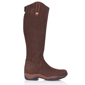 Bareback Footwear Men's and Woman's Montana Long Riding Boot in Brown Nubuck Leather. Hogh performance, quality equestrian footwear, shop online or buy in the knightsbrand. rookley, isle of wight, UK store
