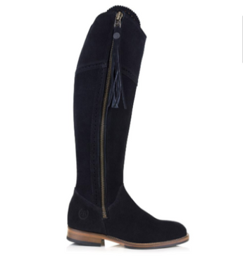 BareBack Lady's Sovereign Country Style Knee length Black Suede Boots with Tassel High performance, quality country style footwear, shop online or buy in the knightsbrand, rookley, isle of wight UK store