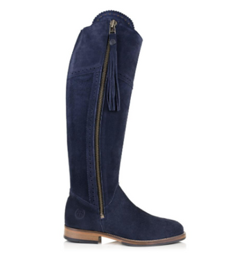 BareBack Lady's Sovereign Country Style Knee Length Navy Suede Boots with Tassel. High performance, quality country style footwear, shop online or buy in the knightsbrand rookley isle of wight UK store.