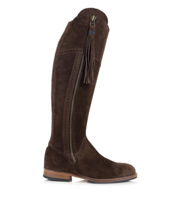 BareBack Lady's Sovereign Country Style Knee Length Brown Suede Boots with Tassel. High performance, quality country style shop online or buy in the knightsbrand, rookley isle of wight UK store.