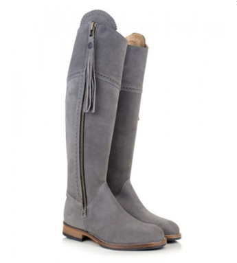 BareBack Lady's Sovereign Country Style Knee Length Grey Suede Boots with Tassel. High performance, quality country style footwear, shop online or buy in the knightsbrand rookley isle of wight UK store