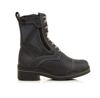 Bareback Footwear Unisex Kentucky Short Boots in Navy Nubuck leather. High performance, quality equestrian footwear, shop online or buy in the knightsbrand, rookley, isle of wight, UK store.