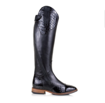 BareBack Footwear Woman's Milan Long Competition Riding Boots in Black Leather. High performance, quality equestrian footwear, shop online or buy in the knightsbrand, rookley, isle of wight UK store.