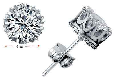925 Sterling Silver CZ 6MM  Earrings Crown Stud  Round Crystal Cubic Zirconia Uk