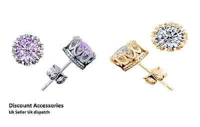 Gold or Purple Crown Stud Round Crystal Earrings 6mm CZ Cubic Zirconia Studs Uk