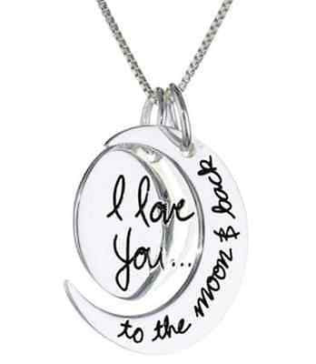 White Gold Plated 'I Love you to the moon and back' Pendant Necklace Chain