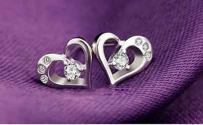 Crystal Heart Shape Sterling Stud Earrings Silver Women Ladies Girls Authentic
