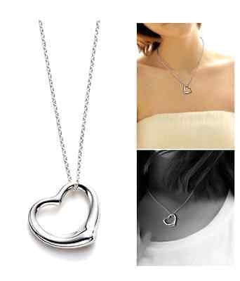 Silver chain Necklace Love Heart Shaped Pendant Gift Girlfriend Wife Present UK