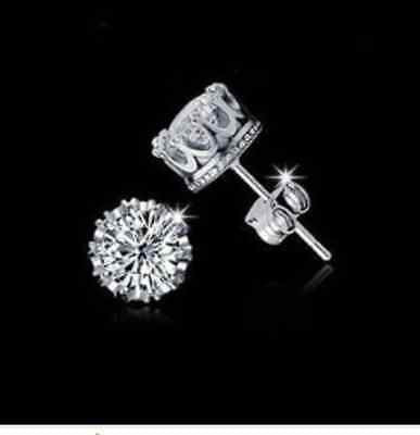 925 Sterling Silver Crystal/Cubic Zirconia/Diamante Crown Stud Earrings Prom