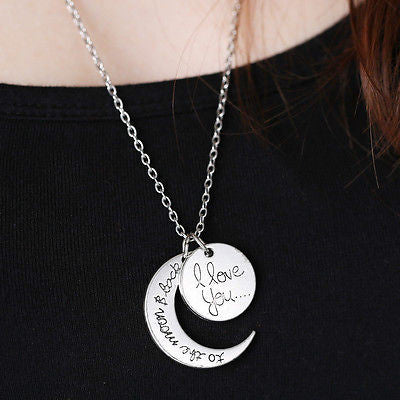 White Gold Plated 'I Love you to the moon and back' Pendant Necklace Length 18