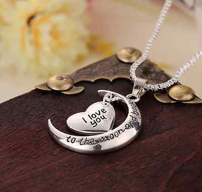 I Love You Heart & Moon Pendant Necklace Silver Gift Wife Mum Daughter Sister Uk