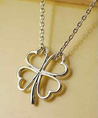 Irish Lucky Charm 4 Leaf Clover Shamrock Heart Necklace Silver Pendant Chain Uk