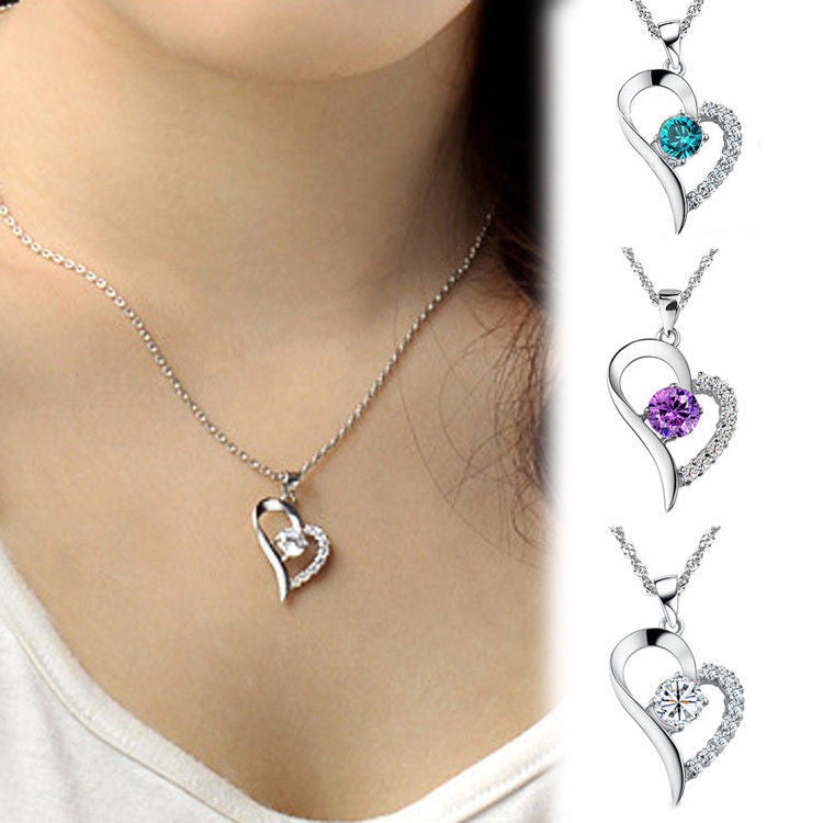 Heart Shaped Silver Crystal Necklace Rhinestone Pendant Chain Blue/Purple/White