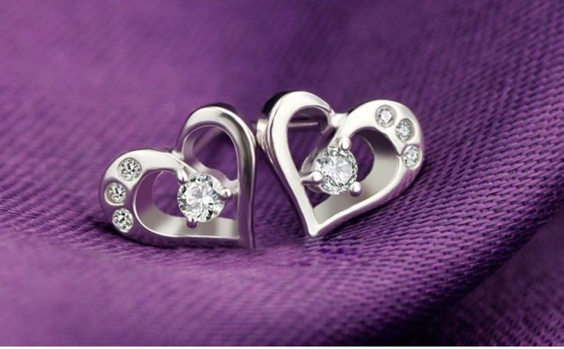 Silver Plated 925 Sterling Crystal Love Heart Shape Stud Earrings Gift Xmas Uk