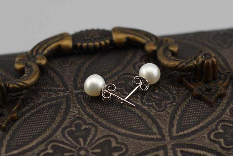Sterling Silver 6-7mm Freshwater Pearl Ivory Stud Earrings Prom Wedding Bride Uk