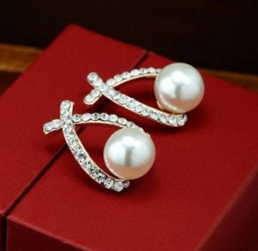 Ladies Gold Plated Crystal Rhinestone White Pearl Cross Stud Earrings Uk Seller
