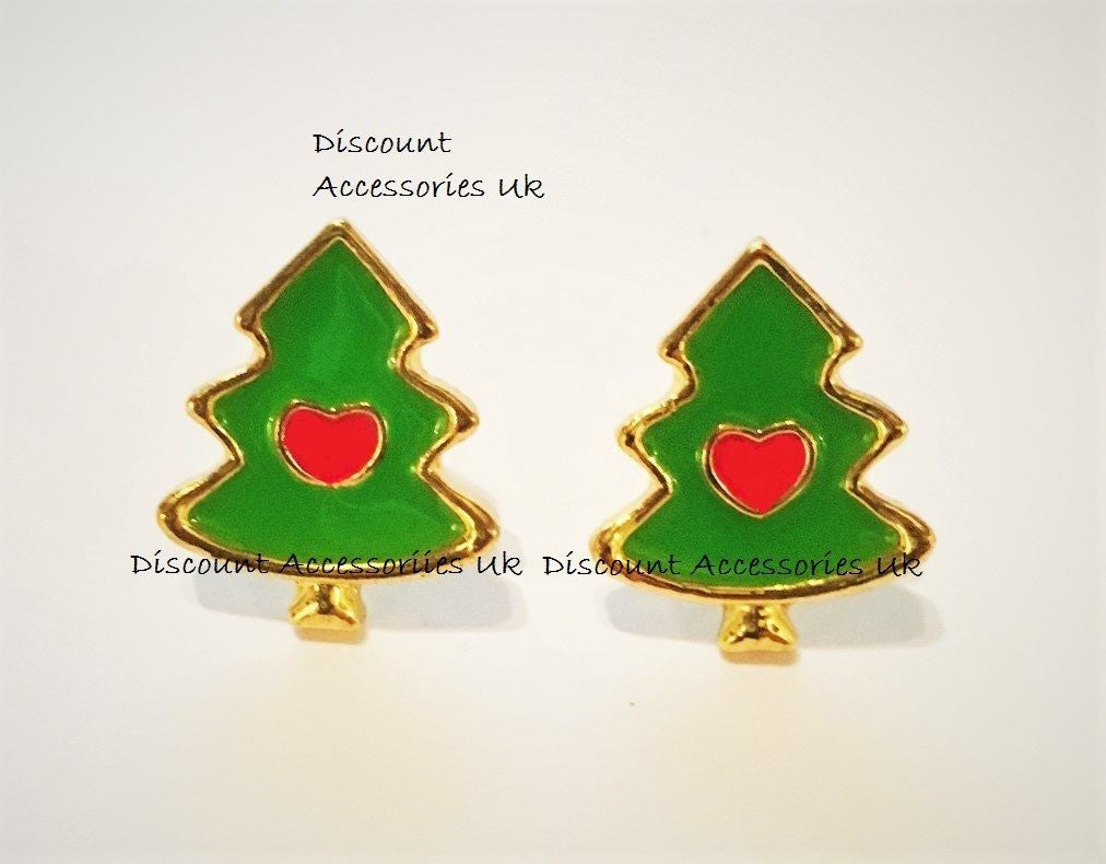 Christmas Tree Xmas Santa Girls Ladies Kids Stud Earrings Gift Present Secret Uk