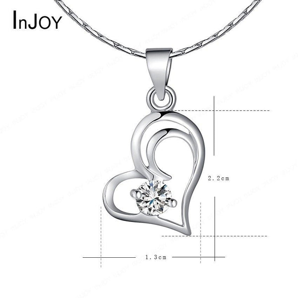18K Crystal Silver Platinum Plated Double Heart Ladies Necklace Pendant Chain UK