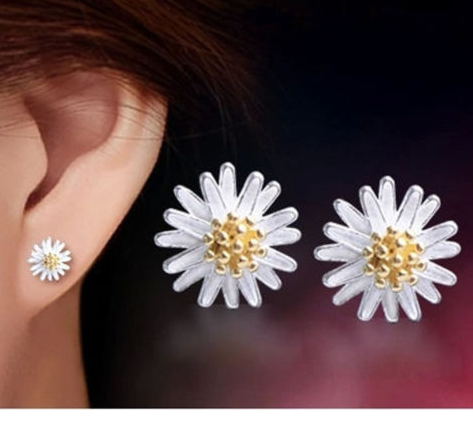Sterling Silver Diasy Flower Stud Earrings