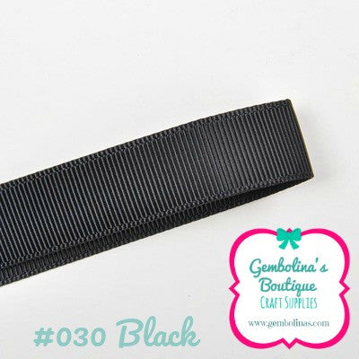 #030 Black Solid Colour Plain Grosgrain Ribbon Bow Making Gembolina's Crafts