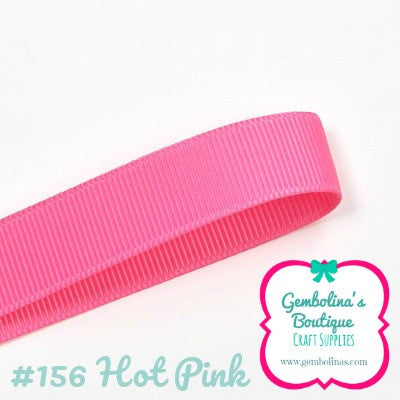 "156 Hot Pink Solid Colour Plain Grosgrain Ribbon Bow Making Gembolina's Crafts 3/8 1"" 1.5"" 2"" 3"" Ribbons"