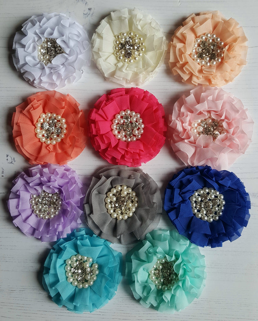 Large Ruffled Chiffon Bling Flowers