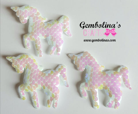 White & Pink Sequin Unicorn Applique