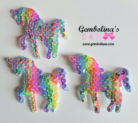 Pastel Rainbow Sequin Unicorn Applique