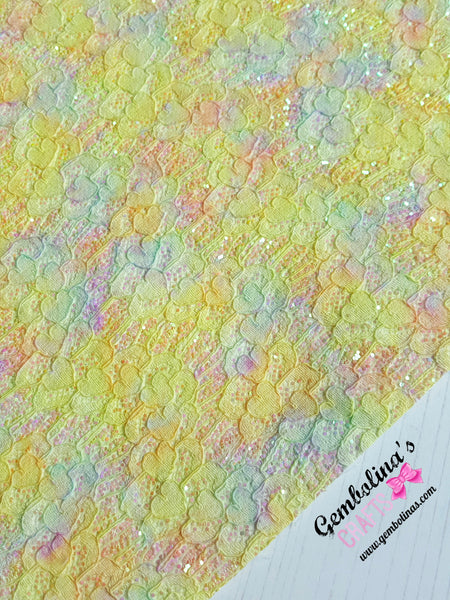 Lace Effect Glitter Fabric ~ Yellow Hearts