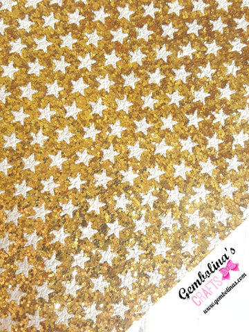 White Stars Chunky Glitter Fabric ~ Gold