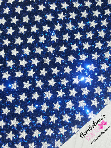 White Stars Chunky Glitter Fabric ~Blue