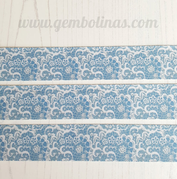 "1"" 25mm Denim Lace Effect Vintage Summer Print Grosgrain Ribbon Bow Making Gembolina's Crafts"