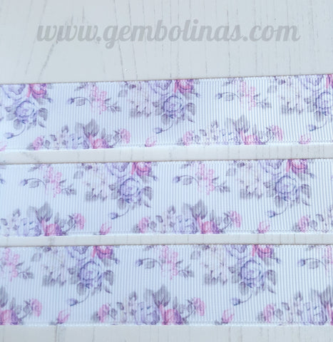 "1"" 25mm Lilac Posy Floral Spring Flowers Summer Print Grosgrain Ribbon Bow Making Gembolina's Crafts"