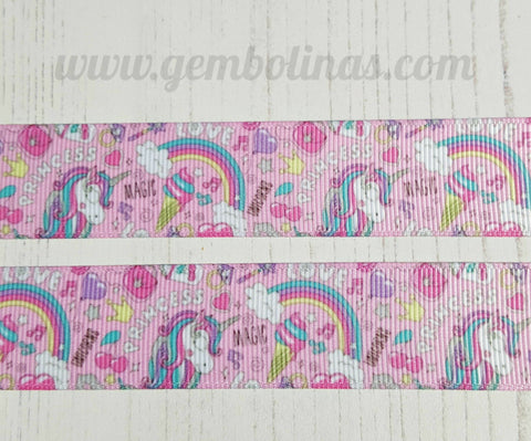 "1"" 25mm Pink Unicorn Unicorns Grosgrain Ribbon Bow Making Gembolina's Crafts"