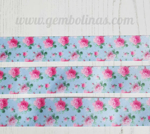 "1"" 25mm Roses on Blue Pink Floral Grosgrain Ribbon Bow Making Gembolina's Crafts"