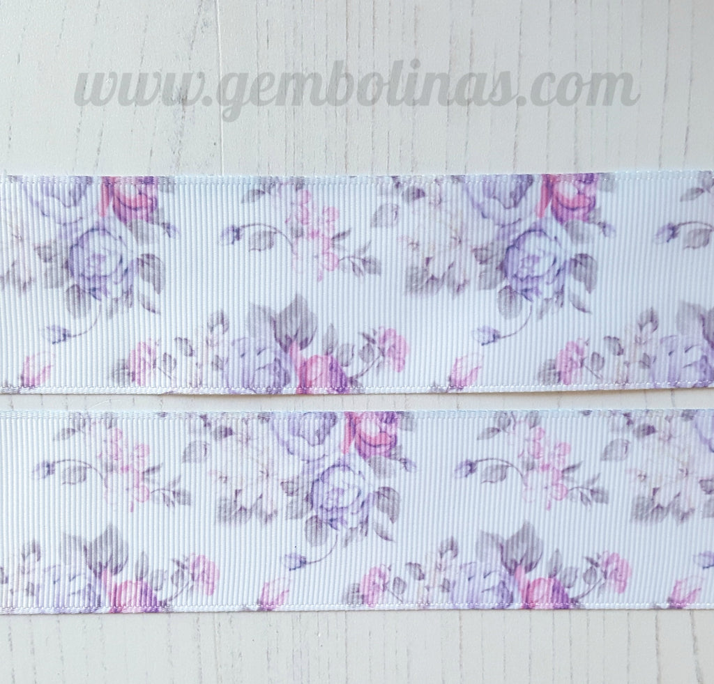 "1.5"" 38mm Lilac Posy Floral Spring Flowers Summer Print Grosgrain Ribbon Bow Making Gembolina's Crafts"