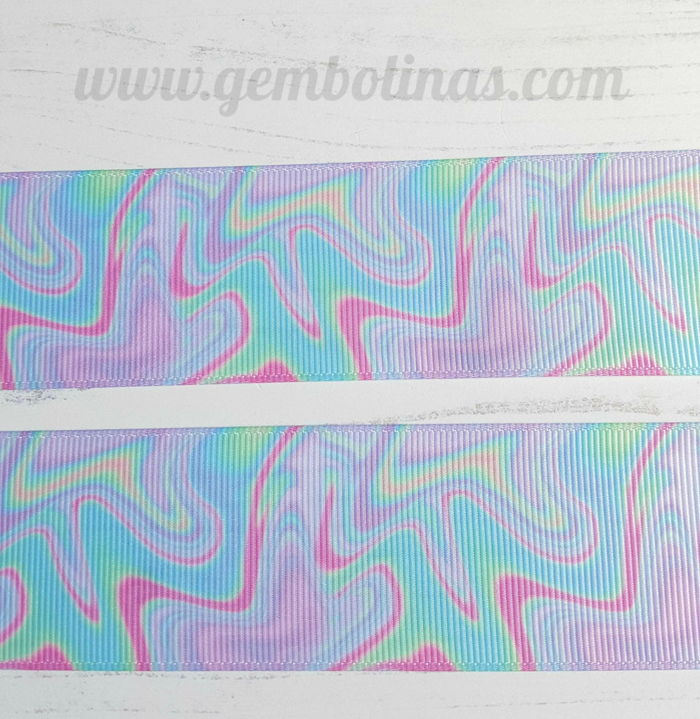 "1.5"" 38mm Marbled Pattern Printed Grosgrain Ribbon Gembolina's Crafts"