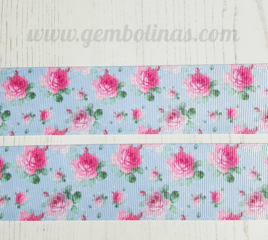"1.5"" 38mm Roses on Blue Pink Floral Grosgrain Ribbon Bow Making Gembolina's Crafts"